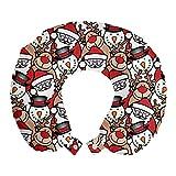 ABAKUHAUS Navidad Cojín de Viaje para Soporte de Cuello, Muñeco de Nieve del Reno niños, de Espuma con Memoria y Funda Estampada, 30x30 cm, Brown pálido Blanco y Rojo