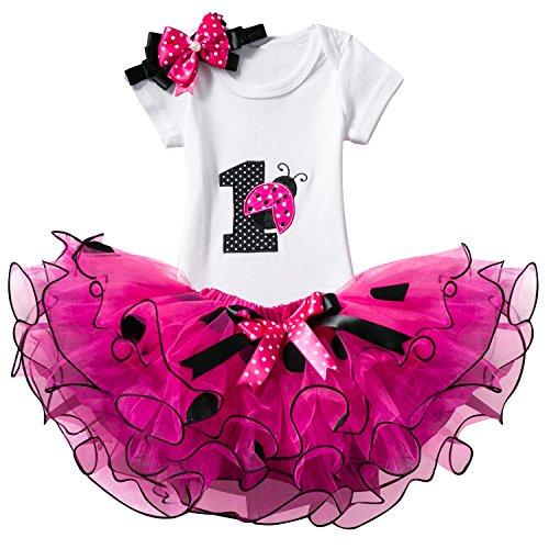 TTYAOVO Bebé Niña 1er cumpleaños 3pcs Conjuntos con Diadema de Unicornio y Mameluco y Faldas (Rosa Roja, 1 año)