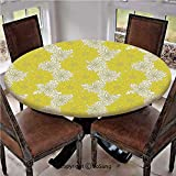 "Elastic Edged Polyester Fitted Table Cover,Fresh Garden Pattern with Two Shaded Motifs Lively Summer Artistic Pattern,Fits up 40""-44"" Diameter Tables,The Ultimate Protection for Your Table,Yellow Crea"