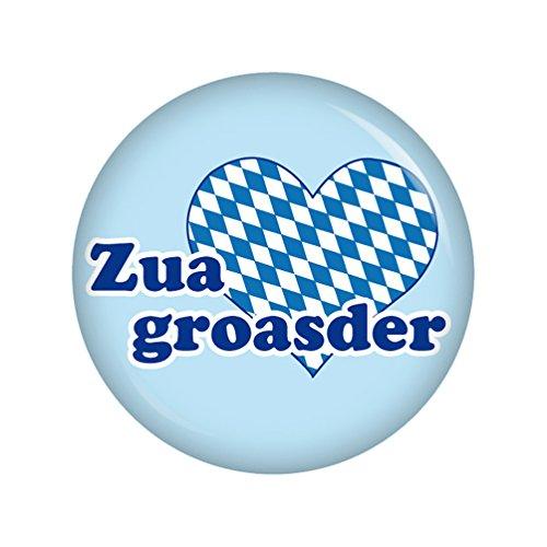 Kiwikatze® Regional - Zuagroasder 37mm Button Ansteckbutton Oktoberfest Wiesn Volksfest für Dirndl oder Lederhose Bayern