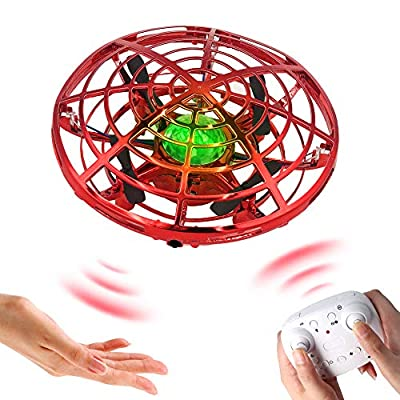 BOMPOW Flying Drone for Kids Hand Drone Hand Operated Helicopter, Mini Drone with LED Light and 360° Rotating, Toy Gifts for 3, 4, 5, 6, 7, 8, 9, 10 years, Red