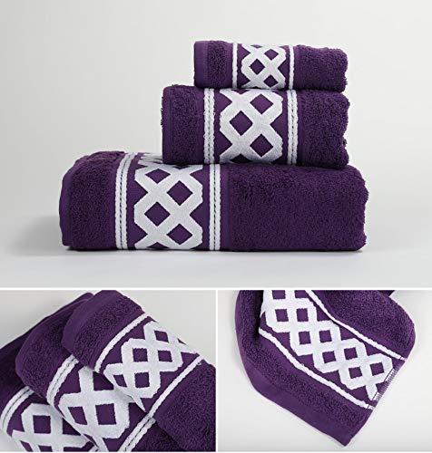 Energy Colors Textil - Hogar - Cenefa Siria - Juego de Toalla 3 Piezas 100% Algodón de 500 Gramos Ducha Lavabo y Vidé (Morado)