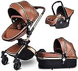 KDRICH Poussette Hot Mom 3 en 1 pour bébé avec cadre en aluminium rotatif à 360 ° pour s'asseoir et s'allonger (couleur : marron)