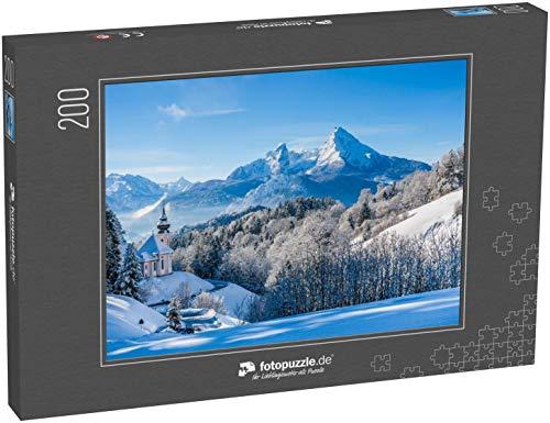 fotopuzzle.de Puzzle 200 Teile Panoramablick auf wunderschöne Winterlandschaft in den bayerischen Alpen mit der Wallfahrtskirche Maria Gern und dem berühmten Watzmannmassiv im Hintergrund