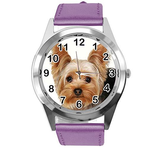 Reloj analógico de Cuarzo con Correa de Piel auténtica de Color Violeta para los Fans de York Terrier de TAPORT®
