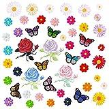 GOTONE Hierro en parches Parche bordado cosido, 50 PCS Flores Rosa Margaritas Mariposas Conjunto de parches lindos, Tamaño surtido Decoración Coser parches