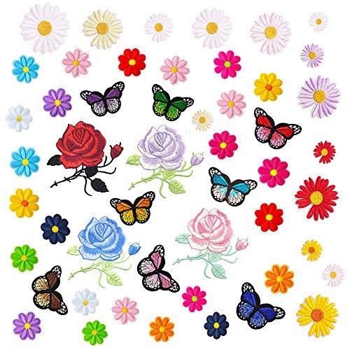 GOTONE Hierro en parches Parche bordado cosido, 50 PCS Flores Rosa Margaritas Mariposas Conjunto de parches lindos, Tamaño surtido Decoración Coser parches para ropa, chaquetas, mochilas, jean, faldas