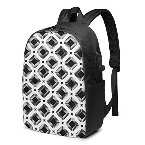 Laptop Rucksack Business Rucksack für 17 Zoll Laptop, Rhombuses Bezels Dots Diamonds Schulrucksack Mit USB Port für Arbeit Wandern Reisen Camping, für Herren Damen
