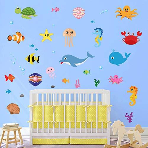 Bajo el Mar Pegatinas De Pared Delfín Pescado Vinilos Decorativos Habitación Infantiles Guardería Niños Bebés Dormitorios