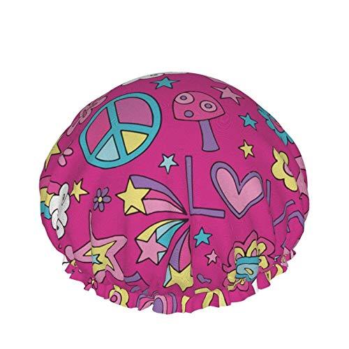 Doves Groovy Peace Design - Gorro de ducha de microfibra para adultos, doble capa, reutilizable