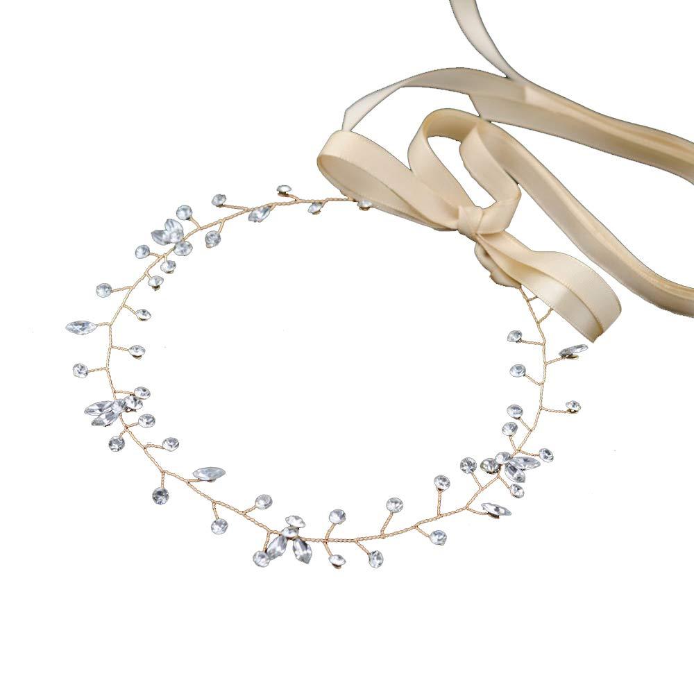 Crystal Wedding Headpiece Hair Vine Bridal Headband Bridesmaid Hairband Crystal Forehead Band with Lace Ribbon Gold