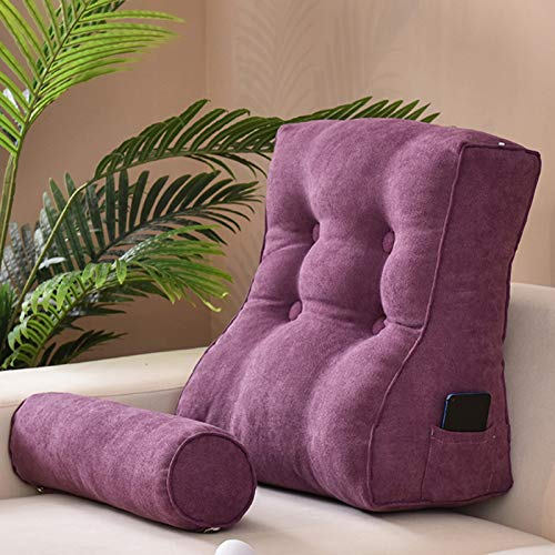 xdvdfvbdf Large Headboard Backrest,Adult Large Bolster Lounge Cushion With Removable Cover,Great As Backrest For Books Or Gaming-Purple 50x50cm(20x20inch)