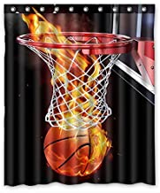 KXMDXA Flaming Basketball Waterproof Polyester Bath Shower Curtain Size 60x72 Inch