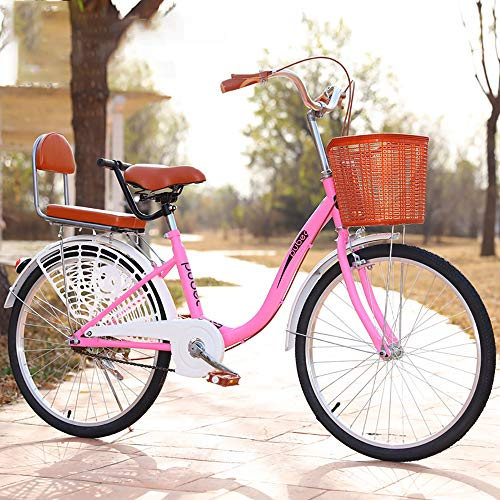 Urban Commuter Bike, Mens Women City Bicycle, 24 Inch Lightweight Adult City Bicycle for City Riding and Commuting, Includes Pump, Bike Lock,Pink