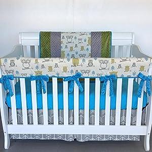 Crib Set 4pc/ Nursery Bedding/Guard Rail/Hooty Owls/Summerland