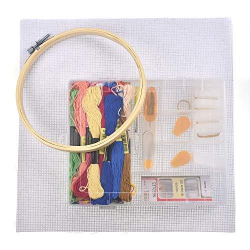 XXYHYQHJD Bordado de Hilo 50pcs Hilos de Punto de Cruz Kits de bambú Bastidor de Bordado DIY de Las Tijeras de Costura Agujas Accesorios Herramientas Set