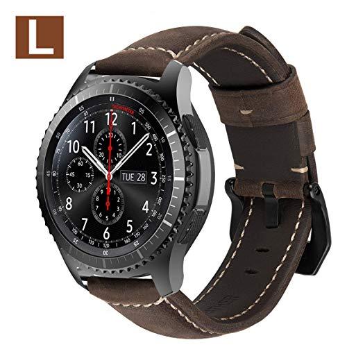 MroTech Lederarmband für Gear S3 Armband 22mm Uhrenarmband Leder Uhrenband kompatibel für Samsung Gear S3 Frontier Classic,Galaxy Watch 46mm, Fossil Herren Smartwatch Ersatzarmband-Dunkelbraun/L