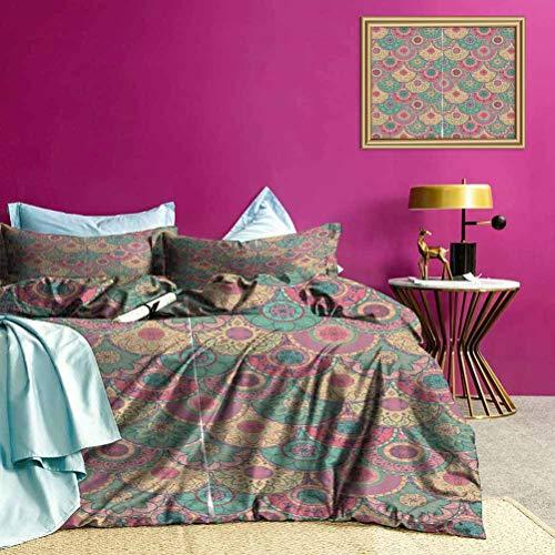 Adorise Forma Circular Conjunto clásico de Cama Primavera Funda nórdica Niza y Colores Vibrantes - Queen Size