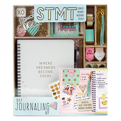 STMT DIY Journaling Set by Horizon Group USA, Personalize & Decorate Your Planner/Organizer/Diary with Stickers,Gems,Glitter Frames,Glitter Clips,Magnetic Bookmarks,Tassel Keychain & More.Pen Included