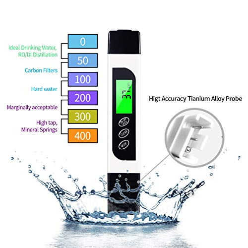 TDS Meter Water Tester,Professional TDS, EC and Temperature Meter (3 in 1) with Carrying Case. Ideal Water Quality Meter for Drinking Water, Aquariums and More.