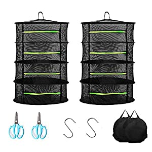 Herb Drying Rack 2 Pack,4 Layer 23.5in/60cm Collapsible Breathable Mesh with Gardening scissor, Drying Rack Net Dryer with Zipper for Garden Plant and Bud Black