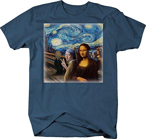 Mona Lisa Starry Knight Art Funny Selfie Cell Phone Meme T Shirt XL Denim Blue
