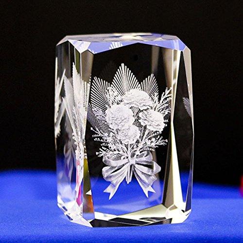 Cubo De Cristal Grabado, Funpa 3D Clavel DecoracióN Artificial Ornamento Del Arte De La Flor DecoracióN Cubo Para El DíA De La Madre