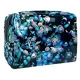 TIZORAX - Bolsa de maquillaje para medusas subacuáticas, PVC, bolsa de maquillaje, artículos de aseo de viaje, práctica bolsa organizadora para mujeres
