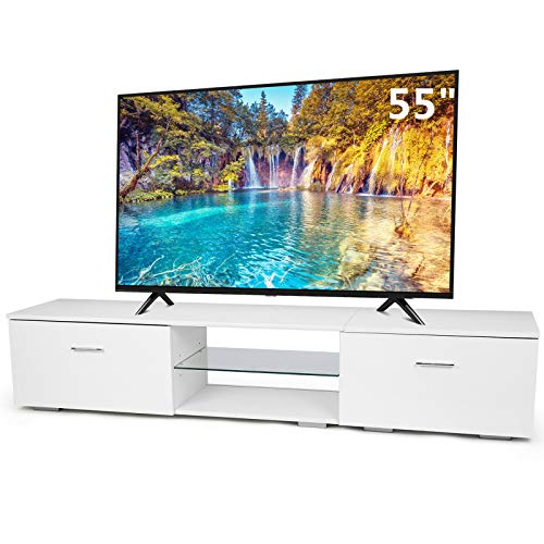 TUSY TV Stands for TV Up to 65 Inch, 2 Storage Cabinets 2 Open Shelves, Media Console Multipurpose Organizer for Living Room Bedroom, White