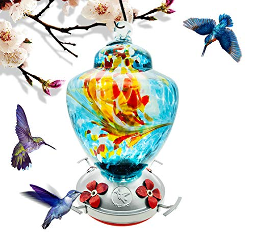 Hummingbird Feeder with Perch - Hand Blown Glass - Blue - 38 Fluid Ounces Hummingbird Nectar Capacity Include Hanging Wires and Moat Hook