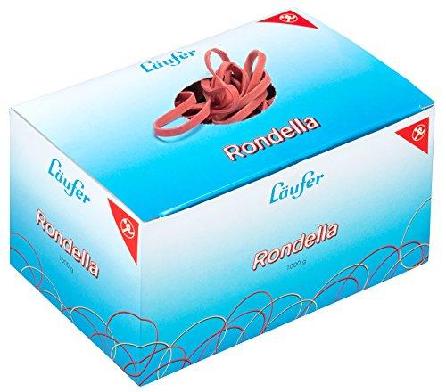 Läufer 51041 Rondella Gummibänder 100 x 5 mm, Durchmesser 65 mm, 5 mm breite Gummiringe, 1 kg Schachtel, rot