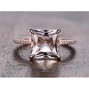 1.25 Carat Antique Design Princess Cut Morganite and Diamond Engagement Ring In Rose Gold