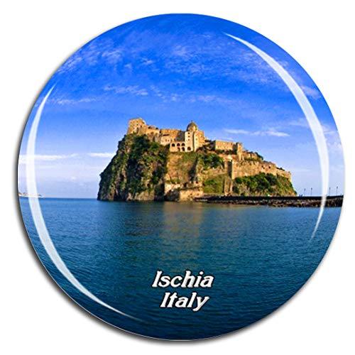 Weekino Italien Aragonese Schloss Ischia Kühlschrankmagnet 3D Kristallglas Touristische Stadtreise City Souvenir Collection Geschenk Starker Kühlschrank Aufkleber