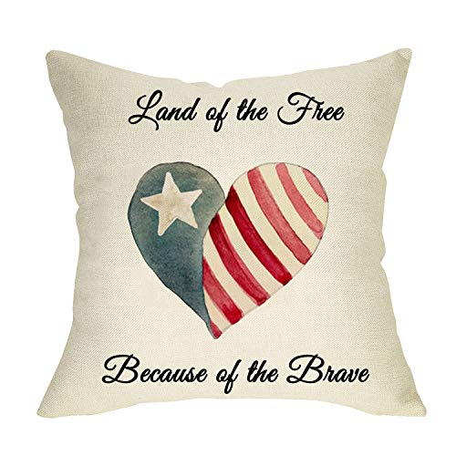 Fbcoo Land of the Free Because of the Brave Home Decorative Throw Pillow Cover America Flag...