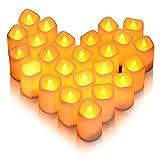Litake LED キャンドル キャンドルライト 24個セット 電池ろうそく 無香料 ティーライト 揺らぐ炎 波形の口 暖白 ウォームホワイト クリスマス/パーティー/結婚式/部屋 装飾用 雰囲気作り 安全 環境に優しい
