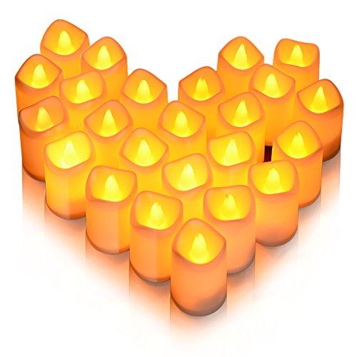 Litake LED Kerzen,Teelichter 24 Realistische Flackernde Flamme Dekorations-Kerzen Warme Weiße Elektrische Tee Lampen für Hochzeiten Geburtstag Feste Halloween Haus Abendessen Party Dekoration