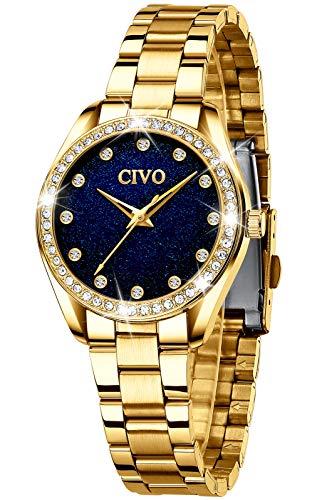 CIVO Damenuhr Damen Gold Sternenhimmel Uhren Edelstahl Designer Armbanduhr Wasserdicht für Damen Elegante Analoge Quarz Uhr