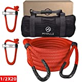 Miolle 1/2' x 20' Kinetic Recovery & Tow Rope for ATV, UTV, Snowmobile, Red (7700lbs), with 2 Spectra Soft Shackles 3/16' (9000lbs)