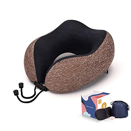 HIZQ Travel Pillow, Memory Foam Neck Pillow for Flight, U Shaped Support Pillow Neck Cushion for Airplane Car Office