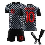 PGOTYY Uniforme de camiseta de fútbol para hombre, 2020 ~ 21 Home/away Shirts Traje, Modric 17 # Mandzukic 7 # Rakitić, Chándal de entrenamiento de fútbol, regalo, juego de 3 piezas Away10-XL