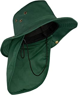 SOL Bucket Hat with Shade Flap Outdoor Fishing Hat Wide Brim for Sun Protection - Green