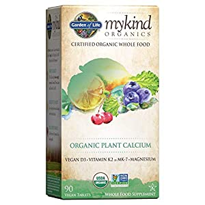 Garden of Life mykind Organic Plant Calcium - Vegan Whole Food Supplement with D3 and K2, Gluten Free, 90 Tablets - Packaging May Vary