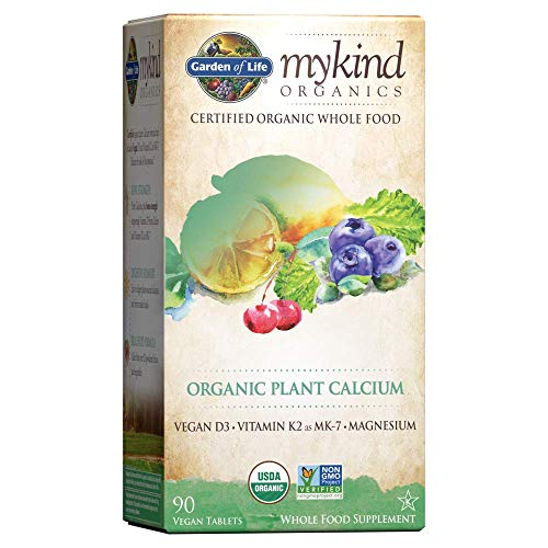 Garden of Life mykind Organic Plant Calcium - Vegan Whole Food Supplement with D3 and K2, Gluten Free, 90 Tablets