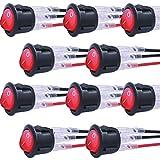 mxuteuk 10 piezas AC110V Luz roja Interruptor basculante de barco redondo a presión iluminado Alimentación de palanca con cable SPST ON-OFF 3 pines AC 250V 6A 125V 10A MXU1-5-101NR-CX