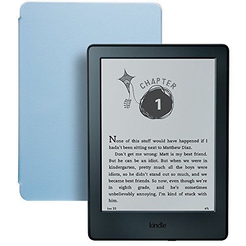 Kindle for Kids Bundle with Kindle E-reader 8th Generation, 2-Year Worry-Free Guarantee, Blue Cover