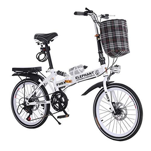 WLGQ Coche Plegable Cambio de Velocidad Coche Bicicleta Plegable de 20 Pulgadas Freno de Disco Bicicleta Hombres y Mujeres Bicicleta portátil Ultraligera (Color: Negro, Tamaño: 150 * 35 * 100 CM)