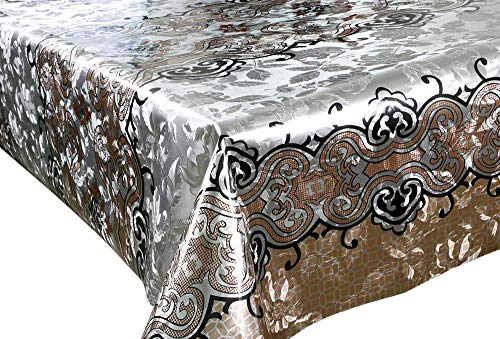 Deconaz Vinylloper per meter tafelkleed tafellinnen 140 cm bloemenpatroon goud & zwart tuin keuken eettafel 300cm x 140cm Oro & Nero
