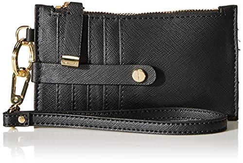 Calvin Klein Saffiano Card Case Wristlet, Black/Gold