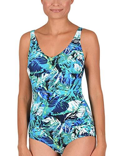 Naturana Badeanzug mit Corsage 31801 Gr. 50 B in blau-weiß-grün