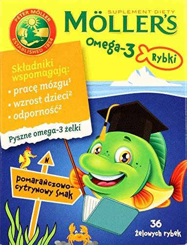 MÖLLER'S Omega-3 Gummy Fish para niños sabor a naranja y limón